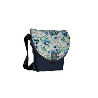 Blue Flowers Green Leaves on White and Navy Blue Commuter Bags