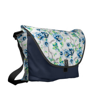 Blue Flowers Green Leaves on White and Navy Blue Courier Bag