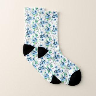 Blue Flowers Green Leaves on White Socks