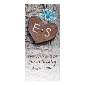 Blue flowers & heart on wood wedding program rack card