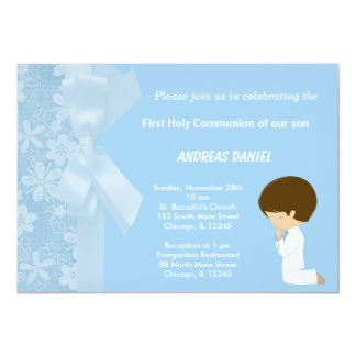 Blue Flowers Holy Communion Card