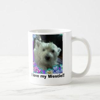 blue flowers, I love my Westie!! Coffee Mug