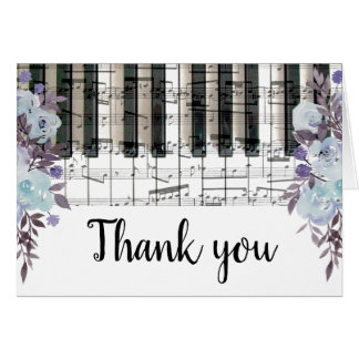 blue flowers music piano keyboard thank you card