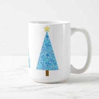 Blue flowers on a modern Christmas tree Basic White Mug
