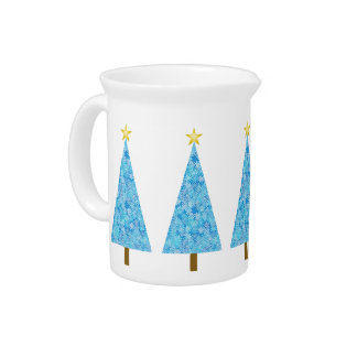 Blue flowers on a modern Christmas tree Drink Pitchers