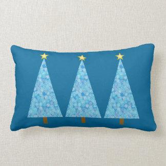 Blue flowers on a modern Christmas trees Lumbar Pillow