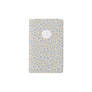 Blue flowers on beige with monogram pocket moleskine notebook