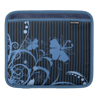 Blue Flowers on Black and Blue Stripes Sleeve For iPads