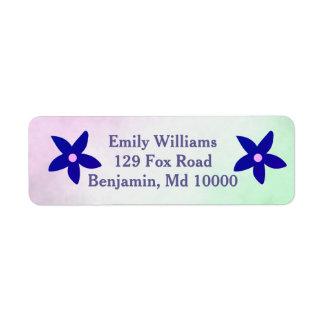 Blue Flowers on Display Return Address Label