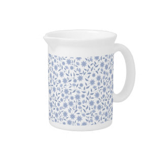 Blue flowers on white pattern pitcher