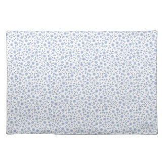 Blue flowers on white pattern placemat