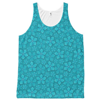 Blue Flowers pattern All-Over Print Tank Top