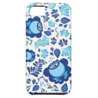 Blue flowers pattern on white background case for the iPhone 5