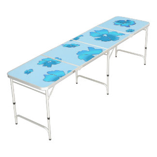 Blue Flowers Pong Table