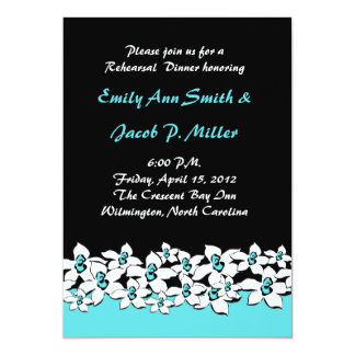 Blue Flowers Rehersal Dinner Invitations