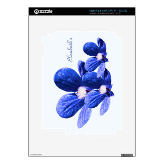 Blue Flowers Skin For iPad 3