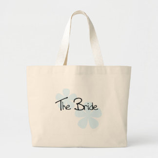 Blue Flowers The Bride Large Tote Bag