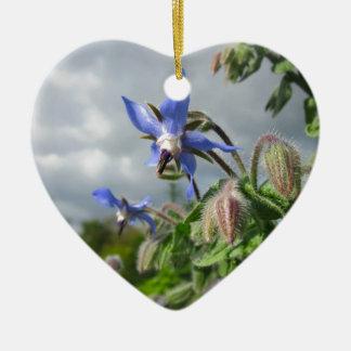 Blue Flowers Vines Peace Love Destiny Garden Party Double-Sided Heart Ceramic Christmas Ornament