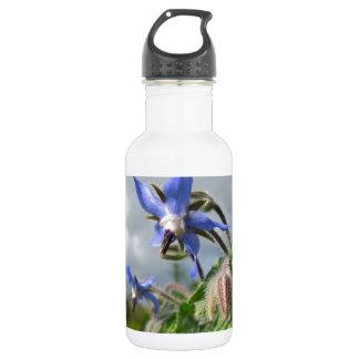 Blue Flowers Vines Peace Love Destiny Garden Party 18oz Water Bottle