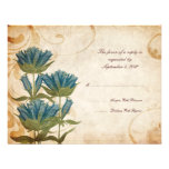 Blue Flowers Vintage Wedding RSVP Personalized Invite