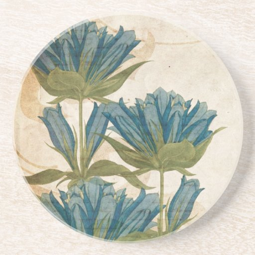 Blue Flowers Vintage Wedding Sandstone Coaster