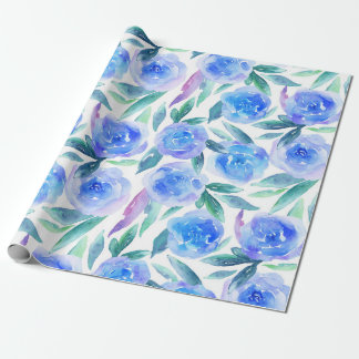 Blue flowers Watercolor botanical pattern Floral Wrapping Paper