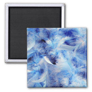 Blue Fluffy Downy Feathers Refrigerator Magnet