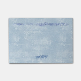 Blue Flute Line Drawing Custom Monogram Post-it Notes