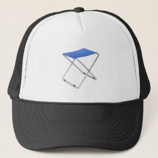 Blue folding stool trucker hat