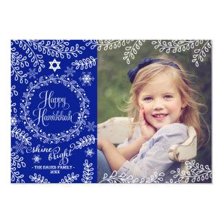 Blue Foliage Hanukkah Photo Card 13 Cm X 18 Cm Invitation Card