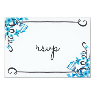 Blue Folk Art Floral Watercolor RSVP Card