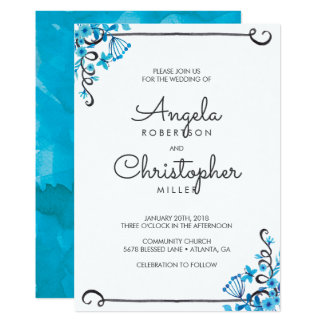 Blue Folk Art Floral Watercolor Wedding Card