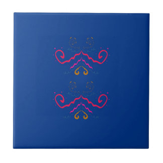 Blue  folk ornaments ceramic tile