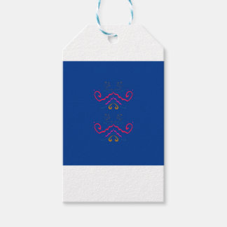 Blue  folk ornaments gift tags