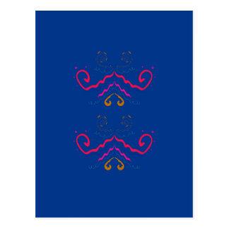 Blue  folk ornaments postcard