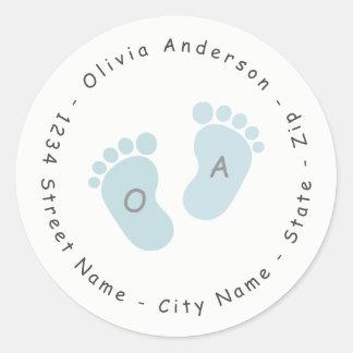 Blue Foot Print Baby Shower Return Address Label