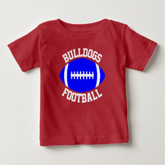 Blue Football Baby Custom Team Name/Text & Number Baby T-Shirt