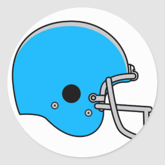 blue football helmet classic round sticker