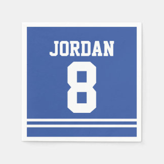 Blue Football Jersey - Sports Theme Birthday Party Disposable Serviette