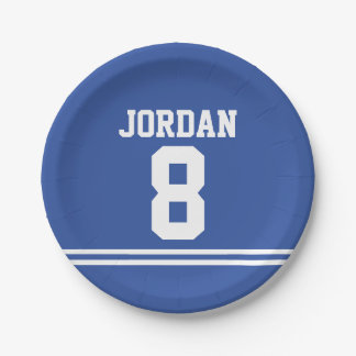 Blue Football Jersey - Sports Theme Birthday Party Paper Plate