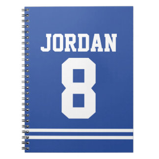 Blue Football Jersey with Custom Name and Number Notebook
