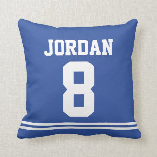 Blue Football Jersey with Number Cushion