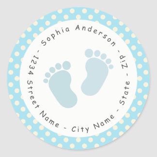 Blue Footprint Baby Shower Return Address Label