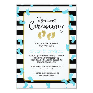 Blue Footprints Black & Gold Twins Naming Ceremony Card