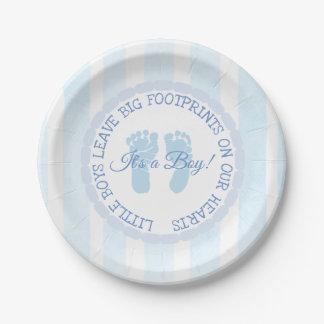 Blue Footprints Boy Baby Shower Paper Plates