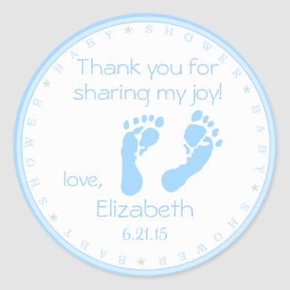 Blue Footprints Boy Baby Shower Thank You Round Sticker