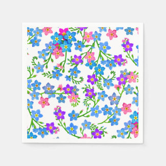 Blue Forget Me Not Flowers Paper Napkins Disposable Serviette