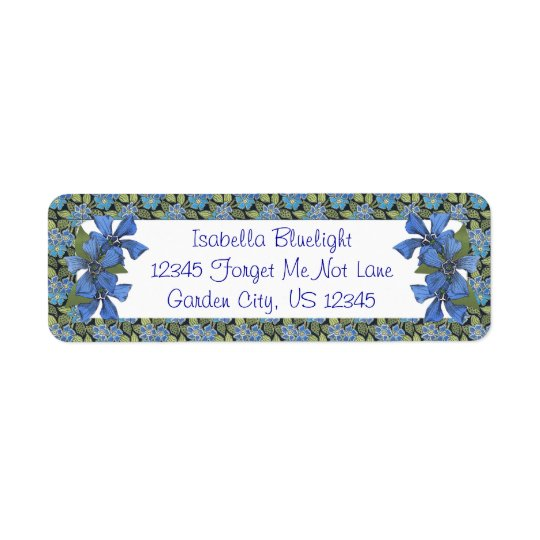 Blue Forget me not Wildflowers Return Address Label