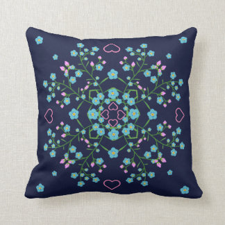 Blue Forget Me Nots and Pink Hearts Mandala Cushion