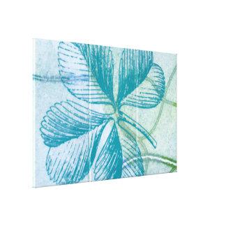 Blue Four Leaf Clover Canvas Print